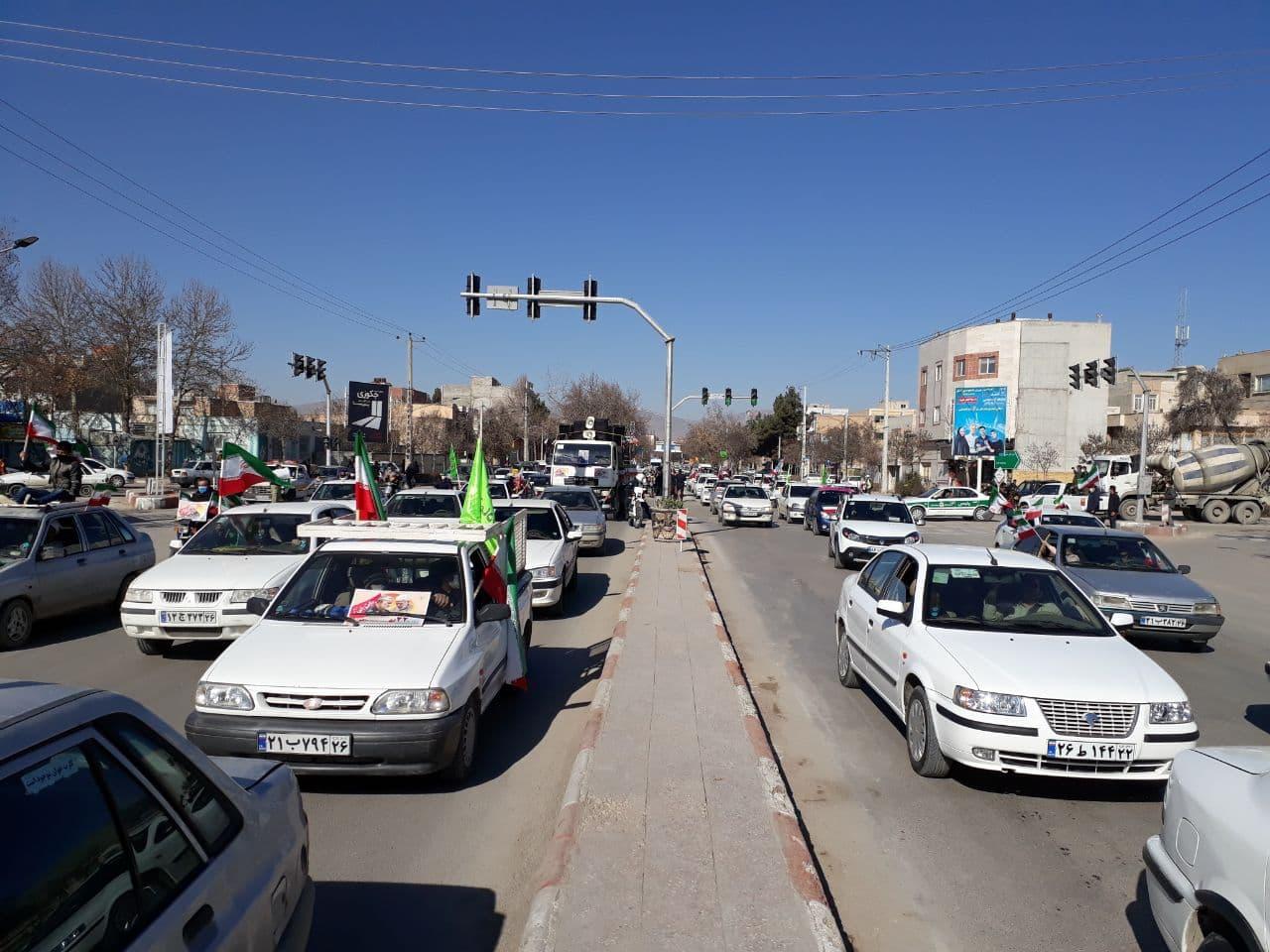 راهپیمایی خودرویی به مناسبت 22بهمن,خراسان شمالی+بجنورد+22بهمن+راهپیمایی