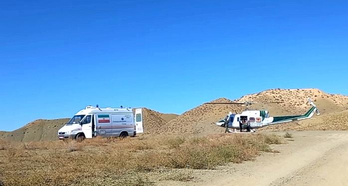 انتقال بیمار با اورژانس هوایی از شهرستان راز و جرگلان به مرکز استان
